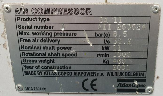 Atlas Copco GA 11 Label